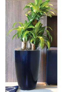 Vaso Decorativo Em Vibra De Vidro Cônico Moderno 55Cm Japi Azul