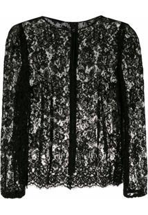 Dolce & Gabbana Blusa De Renda Com Transparência - Preto