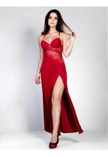 Camisola Yasmin Lingerie Longa Sweet Love Feminina - Feminino-Vermelho Escuro