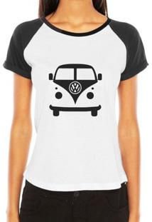 Camiseta Raglan Criativa Urbana Carro Antigo Cássico Kombi - Feminino