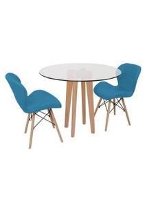 Conjunto Mesa De Jantar Em Vidro 90Cm Com Base Vértice + 2 Cadeiras Slim - Turquesa