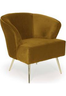Poltrona Decorativa Pés Gold Iris B-260 Veludo Mostarda - Domi