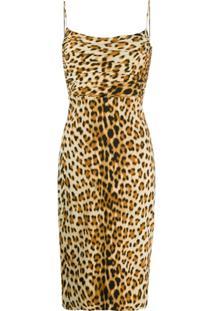 Roberto Cavalli Vestido Slim Com Estampa De Leopardo - Neutro