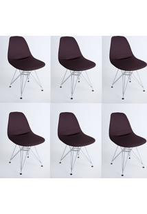 Kit Com 06 Capas Para Cadeira Eiffel Charles Eames Wood Marrom