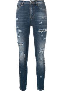 Philipp Plein Calça Jeans Cintura Alta - Azul