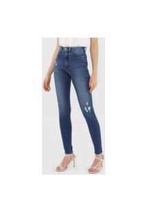 Calça Jeans Lez A Lez Skinny Desgastes Azul