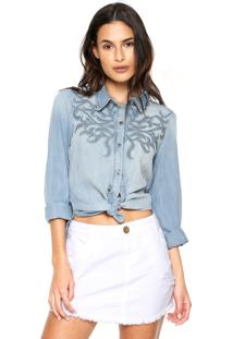 57990ae554 ... Camisa Jeans Morena Rosa Tachas Azul