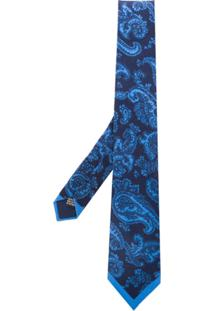 Saint Laurent Gravata De Seda Com Paisley - Azul