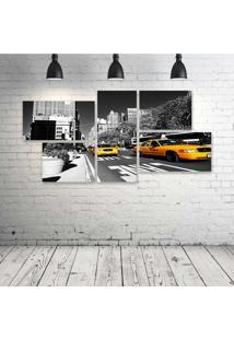 Quadro Decorativo - Ny-Taxis-Amarelo-I - Composto De 5 Quadros - Multicolorido - Dafiti