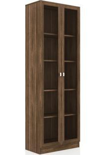 Armário Para Escritório Com 2 Portas De Vidro Me4115 – Tecno Mobili - Nogal