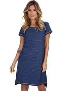 Camisão Curto Strip Jeans Feminino - Feminino-Azul