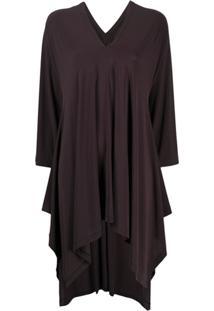 Issey Miyake Vestido Reto Decote Em V - Preto