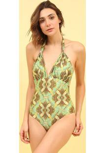 Mai㴠Frente ÚNica Com Aviamento- Verde & Marrom- Mosmos Beach Wear