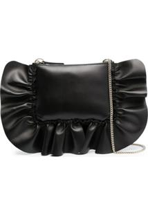 Red(V) Clutch Xl Rock Com Babados - Preto