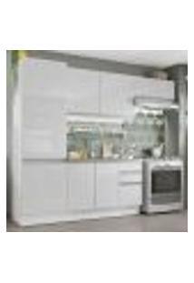 Cozinha Compacta Madesa 100% Mdf Acordes Com Armário E Balcão - Portas Branco Brilho