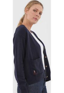 Cardigan Lã Polo Ralph Lauren Botão Azul-Marinho