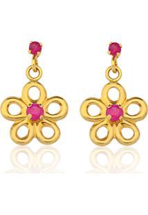 Brinco Le Diamond Flor De Ouro 14K Com Pedras Pink