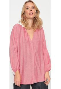 Blusa Listrada Com Prega - Vermelha & Branca - Morenmorena Rosa