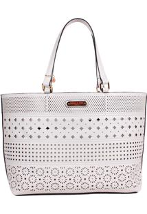 Bolsa Nicole Lee Lydia Laser Cut Shopper Branco