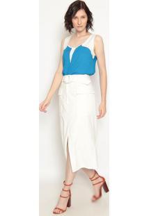 Blusa Com Recortes - Azul & Off White - Operateoperate