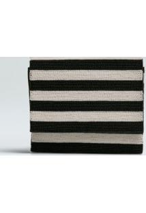 E Ayiti Striped Clutch-Preto/Offwhite - Un