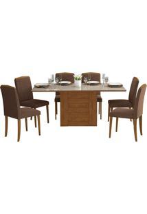 Conjunto De Mesa Para Sala De Jantar Rafaela Com 6 Cadeiras Vanessa-Cimol - Savana / Off White / Chocolate