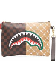 Sprayground Check-Pattern Clutch Bag - Marrom