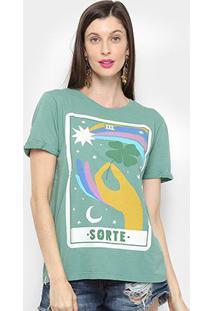 Camiseta Cantão Classic Sorte Feminina - Feminino-Verde