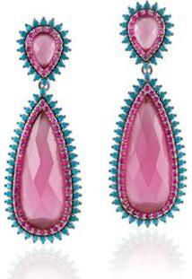 Brinco Giullia Ferraz Store Giullia Ferraz Store Gota Feminino - Feminino-Rosa+Azul