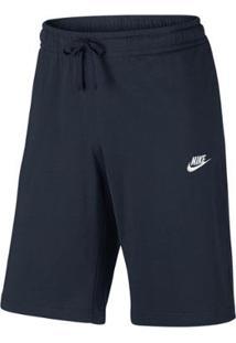 Bermuda Moletom Nike Jersey Club Reta Masculina - Masculino-Marinho+Branco