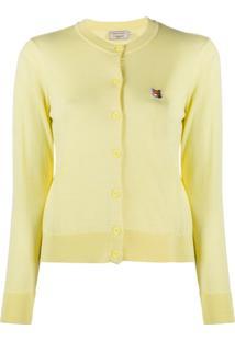 Maison Kitsuné Cardigan Com Bordado De Logo - Amarelo