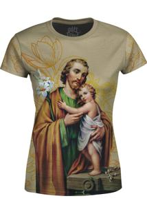 Camiseta Estampada Baby Look Over Fame Sã£O Josã© Floral - Bege - Feminino - Poliã©Ster - Dafiti