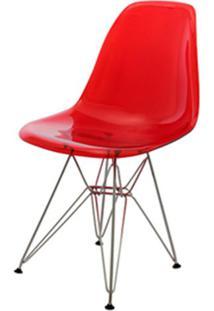 Cadeira Eames Policarbonato Vermelho Base Cromada - 17383 - Sun House