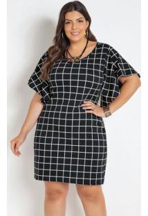 Vestido Xadrez Grid Plus Size Com Mangas Amplas