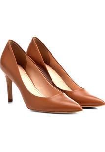 Scarpin Couro Shoestock Salto Médio - Feminino-Caramelo