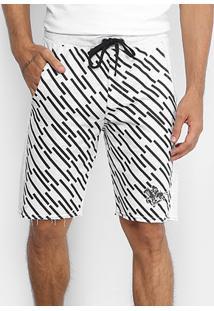 Bermuda Moletom Rg 518 Estampa Risca Masculina - Masculino-Cinza+Branco
