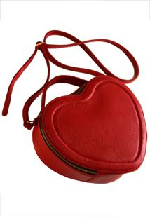 Bolsa Line Store Leather Coração Couro Vermelho