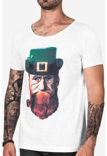 Camisa Hermoso Compadre Velho Leprechaun Masculina - Masculino-Branco