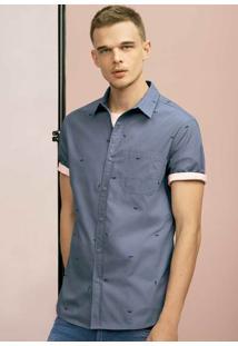 Camisa Masculina Slim Em Tecido De Algodão Estampada Com Bolso