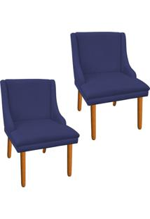 Kit 02 Cadeira Sala De Jantar Liz Suede Azul Marinho - D'Rossi