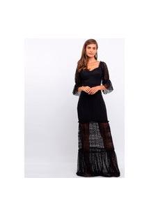 Vestido Elora Longo Rendado Feminino Preto