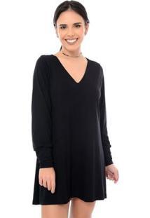 Vestido Curto M/L B'Bonnie Penélope - Feminino-Preto