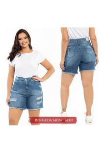 Short Jeans Feminino Plus Size Rasgado Cintura Alta Biotipo