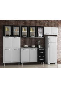 Cozinha Compacta 4 Peças 13 Portas 5 De Vidro Com Balcão Tampo E 4 Gavetas Premium Itatiaia Branco/Preto