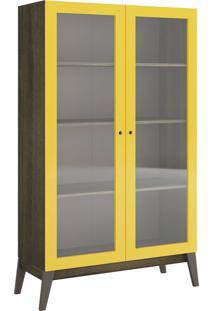 Cristaleira C/ 2 Portas De Vidro Demolição Com Amarelo-Brilho Genialflex Móveis