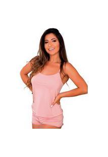 Baby Doll Conforto Short E Camiseta Linha Noite Lingerie Rosa
