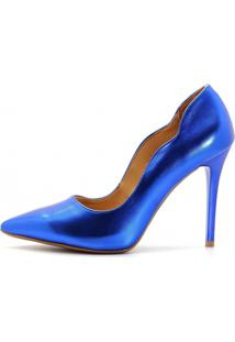 Scarpin Royalz Curvas Metalizado Salto Alto Fino Azul