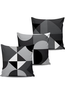 Kit 3 Capas Almofadas Formas Geometricas Preto Branca 45X45 - Tricae