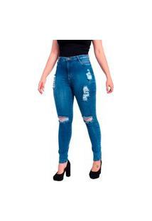 Calça Jeans Feminina Skinny Destroyed Rasgada Cintura Alta Espelho Duplo Stone Used Azul Escuro