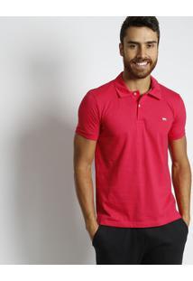 Polo Com Bordado Da Marca Frontal- Pink & Branca- Jajavali